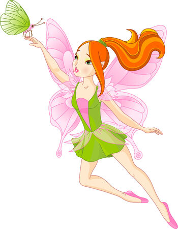 Vector illustration of flying Beautiful fairy and butterfly Stock Vector - 6523411