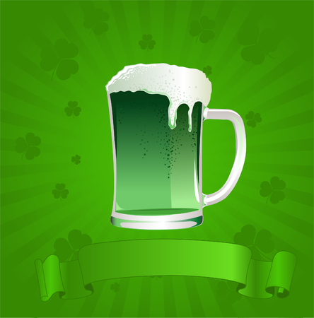 social history: Saint Patricks day beer and message. Illustration