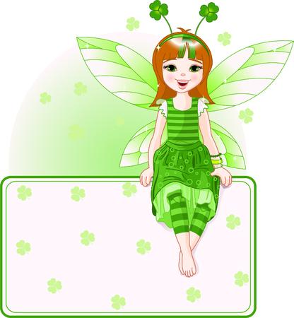 小さなかわいい妖精の聖 Patrick の日の場所カードの上に座って。すべてのオブジェクトは別々 のグループ