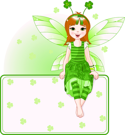 Little cute fairy sitting on place card for St. Patrick�s Day. All objects are separate groups