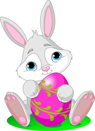 Vector illustration of cute Easter Bunny holding Easter Egg Stock Vector - 6523417