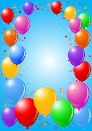 Celebration background with balloons and confetti. Vector