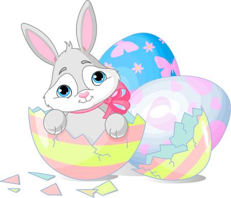 Paas haas zitten in de gebroken Easter Egg.