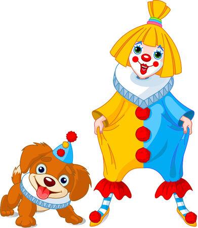 payaso: Chica de payaso divertido con su cachorro de payaso ? de amigo