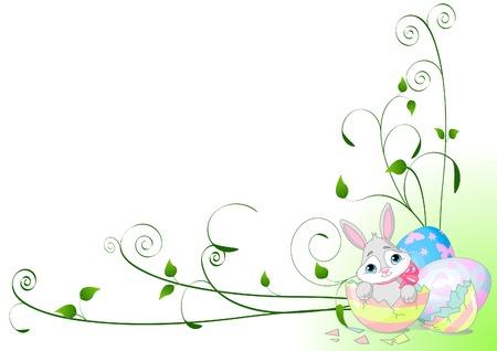 Vector Background floreale con coniglietto pasquale seduto in rotta Easter Egg Archivio Fotografico - 6523419