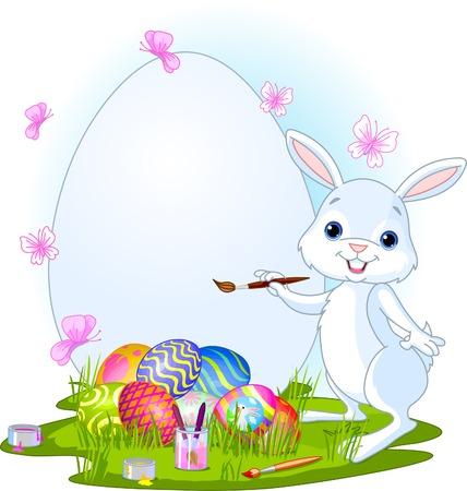 osterhase: Illustration einer Malerei Ostereier Osterhase. Perfekt f�r Ihre Ostern Greeting