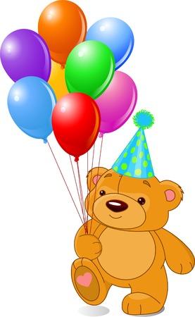 Very cute teddy beer met kleurrijke ballonnen en feest hoed