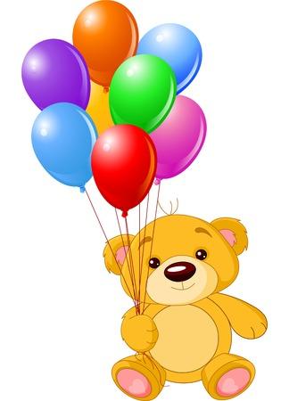 palloncino cuore: Illustrazione vettoriale di carino piccolo orsacchiotto azienda palloncini colorati