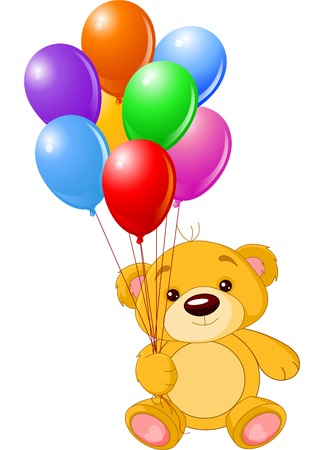 globos de cumpleaños: Ilustración vectorial de cute pequeño oso de peluche en celebración de globos de colores  Vectores