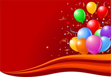 celebration background: Bunch of colorful balloons on the wave.