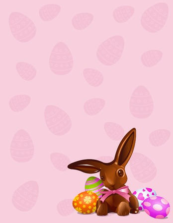 A  chocolate Easter bunny  with Easter Eggs background Vector