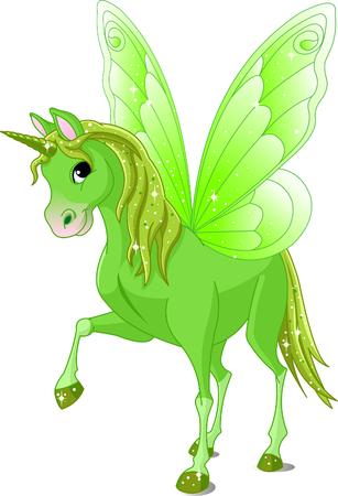 caballo: Caballo verde cute alas de Fairy Tail