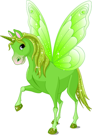 pony tail: Green Cute winged horse of Fairy Tail