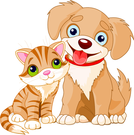 kitten cartoon: Cute Puppy and Kitten Best Friends Ever  Illustration