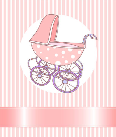 Baby girl Carriage announcement card Vector