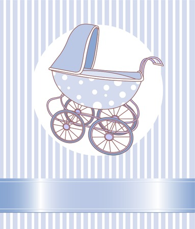 Baby boy Carriage announcement card Vector