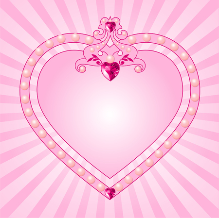 diamond clip art: Lovely princess pink frame. Perfect for beautiful girls Illustration
