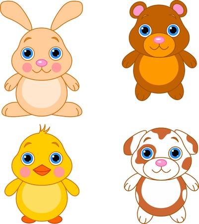 Cute funny baby animals set.  Vettoriali
