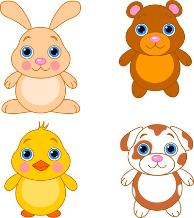 Cute funny baby animals set.  Illustration
