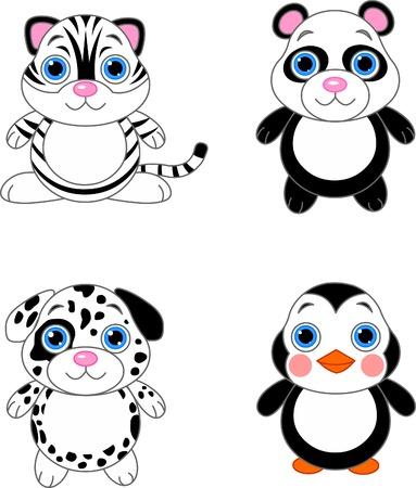 귀여운 재미 아기 동물 설정합니다. 흑백 동물 일러스트