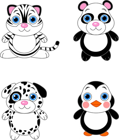 Cute funny baby animals set. Black and white animals Vector