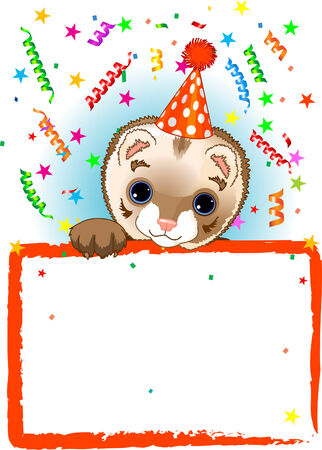 Adorable Polecat Wearing A Party Hat, Looking Over A Blank Starry Sign With Colorful Confetti Stock Vector - 6568373