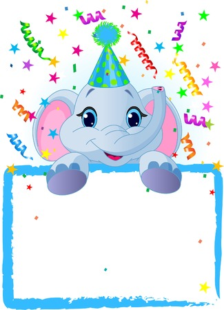 baby elephant: Adorable Baby Elephant Wearing A Party Hat, Looking Over A Blank Starry Sign With Colorful Confetti Illustration