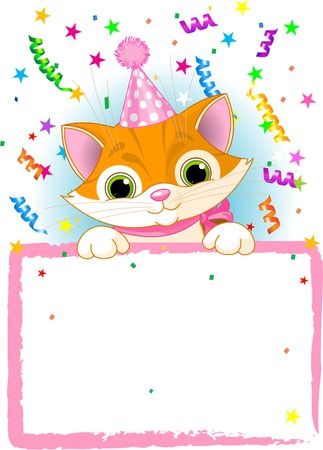 party hat: Adorable Kitten Wearing A Party Hat, Looking Over A Blank Starry Sign With Colorful Confetti