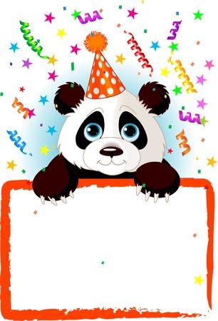 사랑스러운 아기 팬더 다채로운 색종이 가진 빈 별이 빛나는 서명 위로 찾고 파티 모자를 쓰고