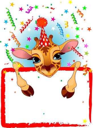 party hat: Adorable Baby Giraffe Wearing A Party Hat, Looking Over A Blank Starry Sign With Colorful Confetti Illustration