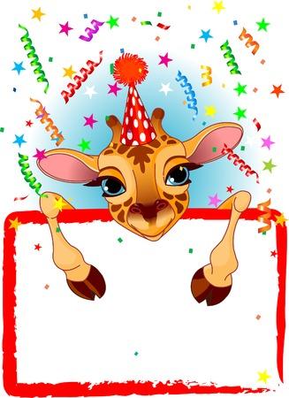 Adorable jirafa de Baby Wearing A Hat de partido, Looking Over A Sign estrellada en blanco con colorida Conffeti