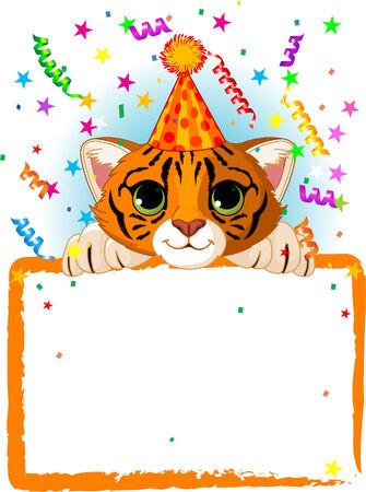 baby tiger: Adorable Baby Tiger, indossare un cappello di partito, guardando oltre un segno stellato vuoto con Confetti colorati