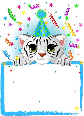 tigre bebe: Adorable beb� tigre blanco wearing una parte Hat, Looking Over A en blanco Sign estrellada con colorida Conffeti