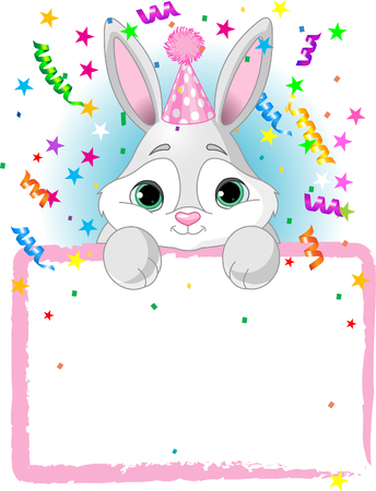 Adorable Baby Bunny Wearing A Party Hat, Looking Over A Blank Starry Sign With Colorful Confetti Illustration
