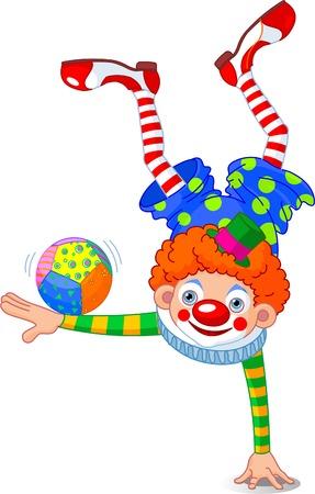 nez de clown: Acrobat Clown permanent sur une main Illustration