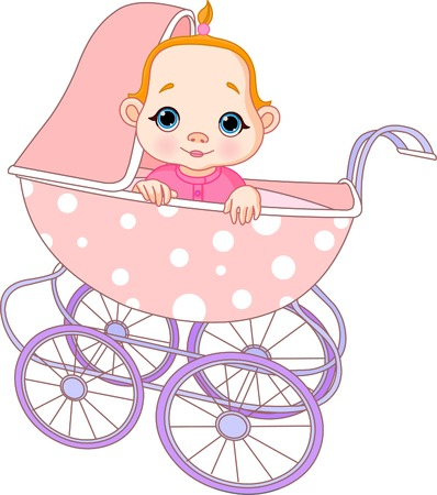 baby carriage: Cute Baby girl sitting in carriage  Illustration