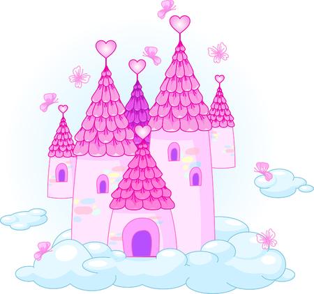 Illustratie van een Fairy Tale Princess kasteel in de hemel. Stock Illustratie