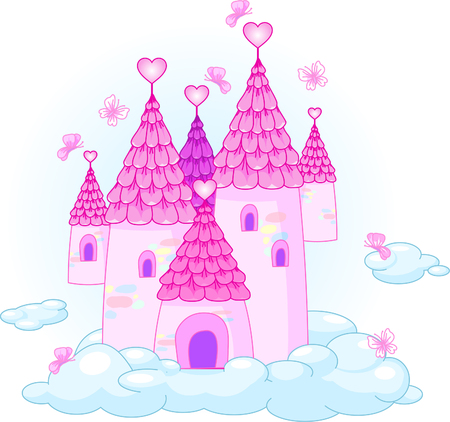 Illustration of a Fairy Tale Princess Castle in the sky. Иллюстрация