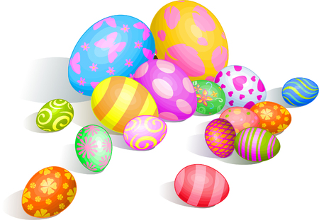 Beautiful coloring Easter eggs on white background