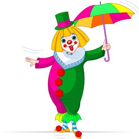 Chica de payaso de cuerda-caminante con paraguas