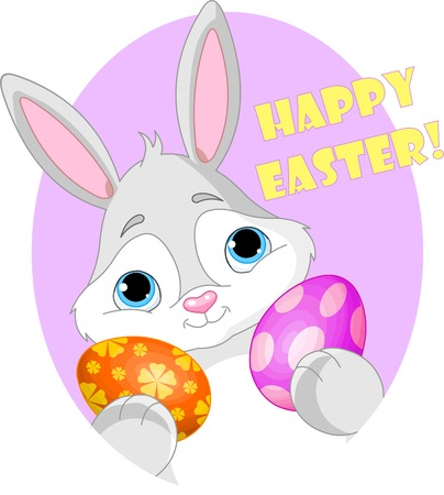 Great illustration of an Easter Bunny holding an egg with a sign. Perfect for the Easter season.