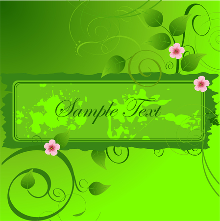 Beautiful floral banner design with spring leaves and flowers