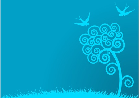 春の木と鳥ブルー フィールドの背景