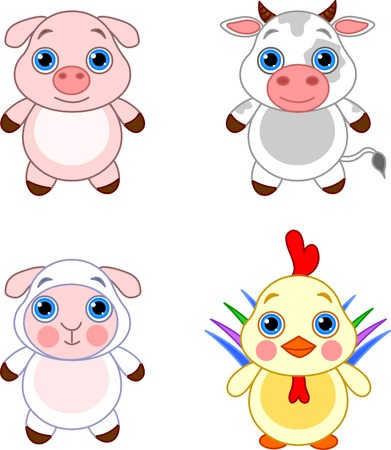 Cute funny baby farm animals set.