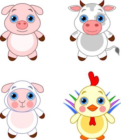 Cute funny baby farm animals set.