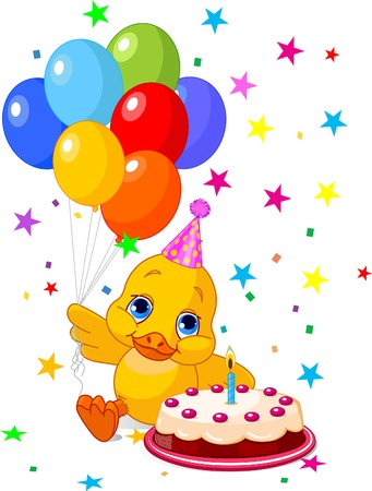ducklings: Cute Duckling with party hat  holding balloons