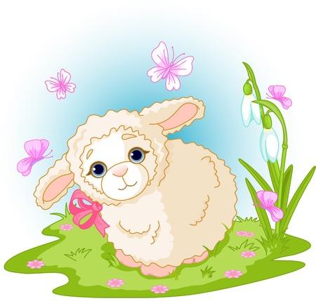 pasen schaap: Lente achtergrond met Pasen-lamsvlees en bloemen Stock Illustratie