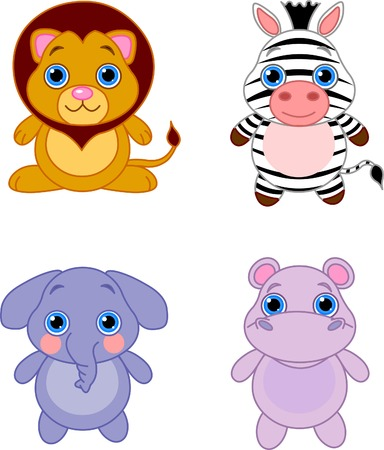 Cute funny baby animals set. African animals Illustration