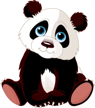Very cute sitting panda;