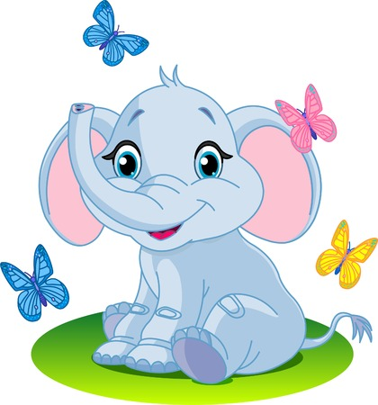 Very Cute baby elephant sitting; on the meadow; Stock Illustratie